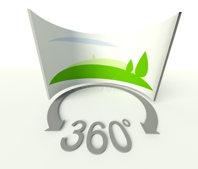 球状360全景图标、符号和符号 皇族释放例证