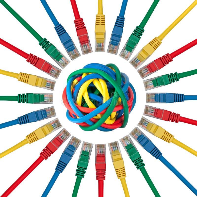 球电缆上色了指向的网络插件 库存照片