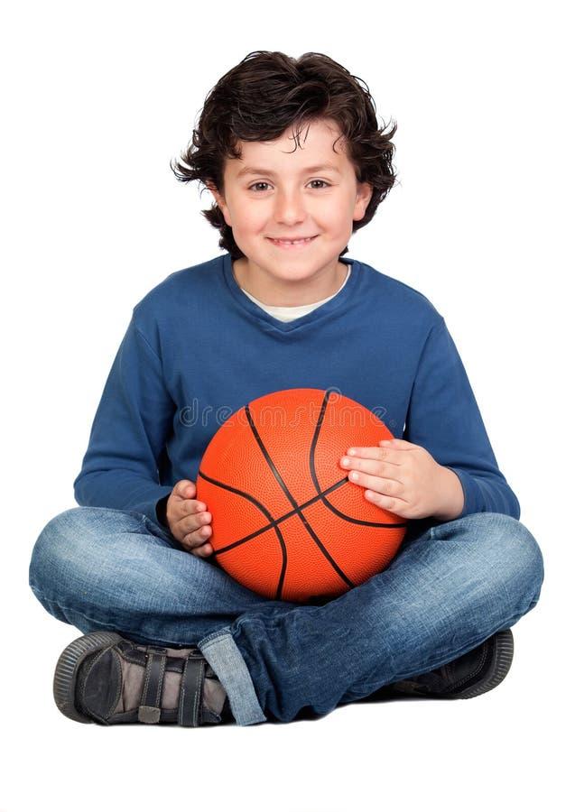 球篮子漂亮的孩子 库存照片