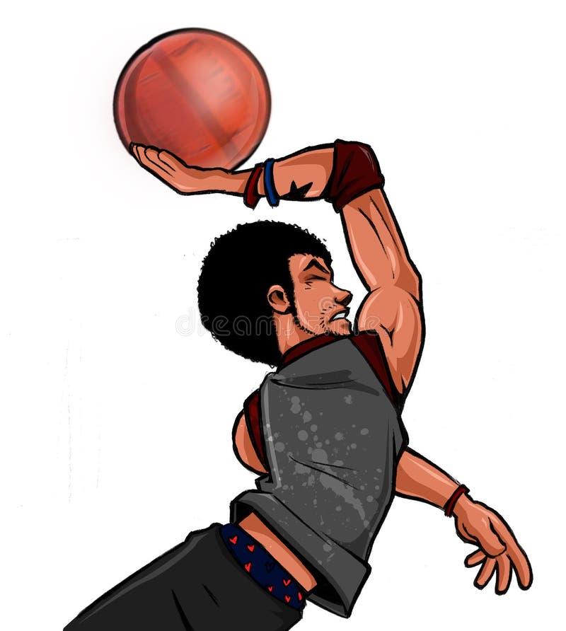 球篮球扣篮街道streetballer 免版税库存图片