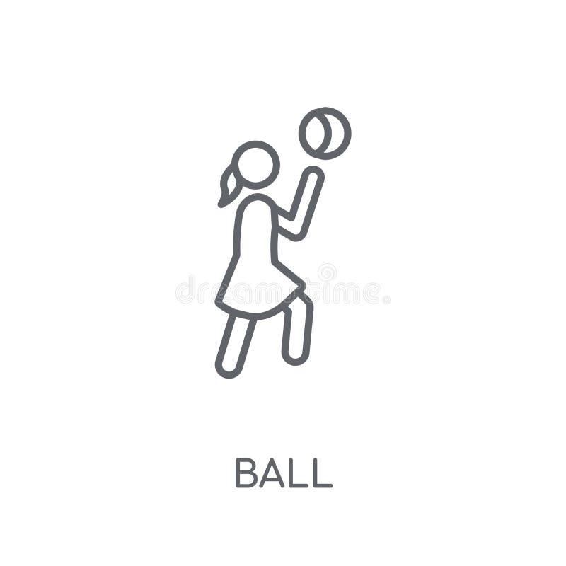 球线性象 在白色后面的现代概述球商标概念 库存例证