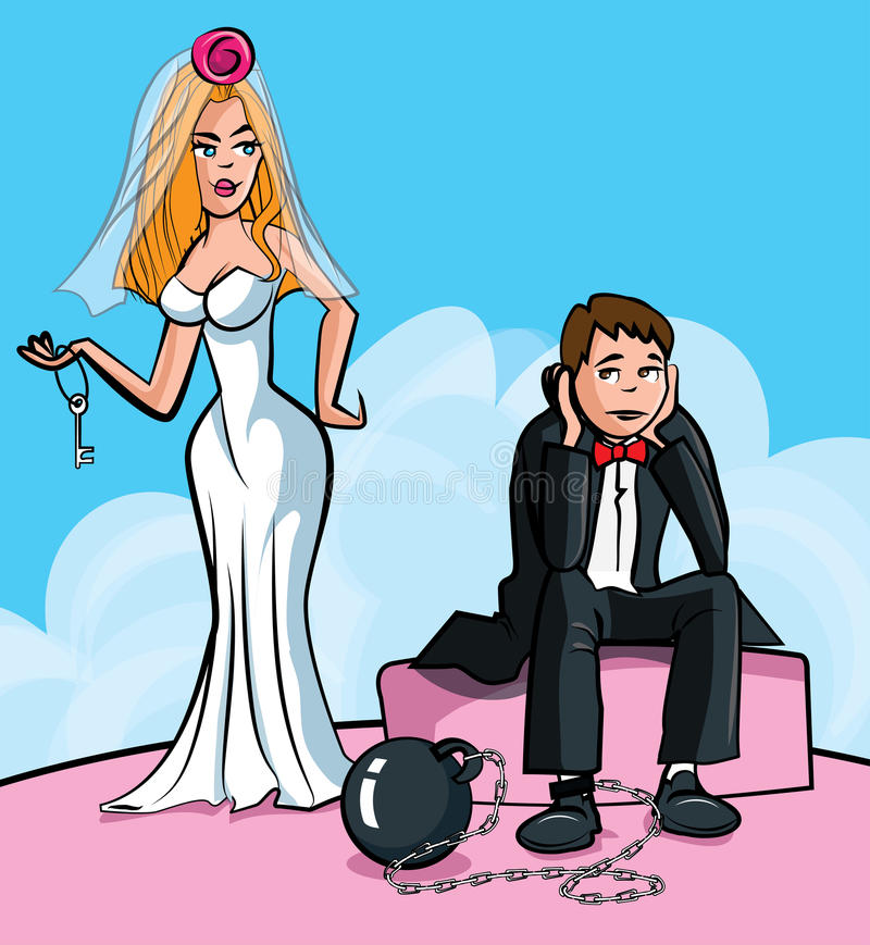 球结婚的动画片链子 皇族释放例证