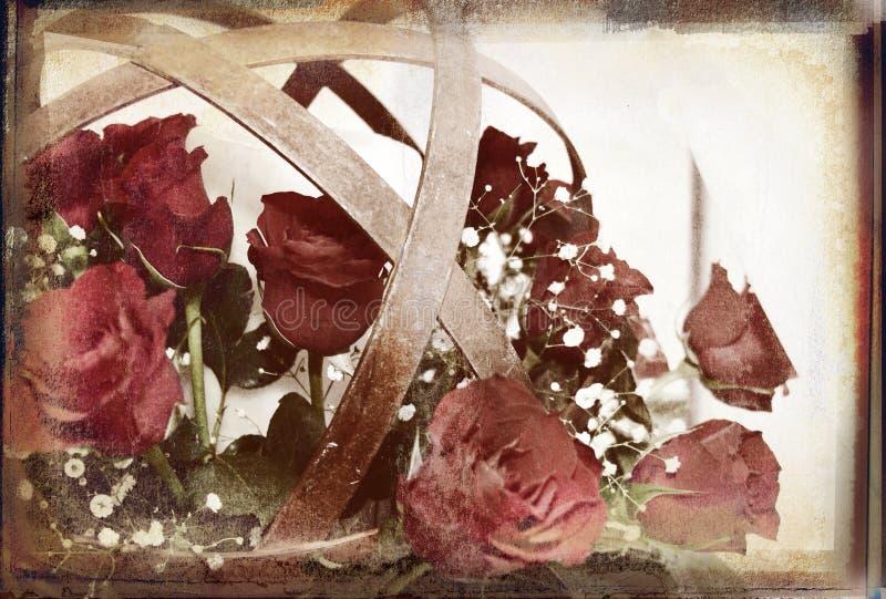球花grunge覆盖了富有的土气纹理 皇族释放例证