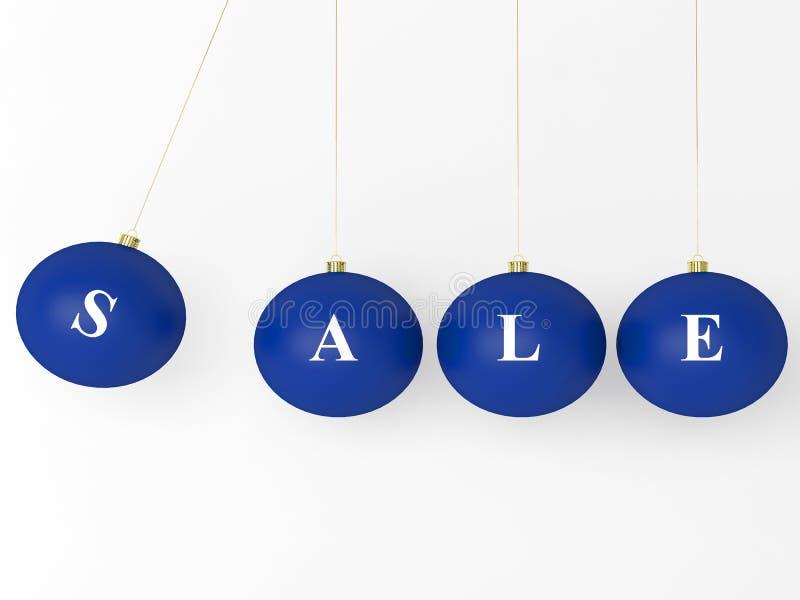 球蓝色圣诞节查出的销售额白色 库存例证