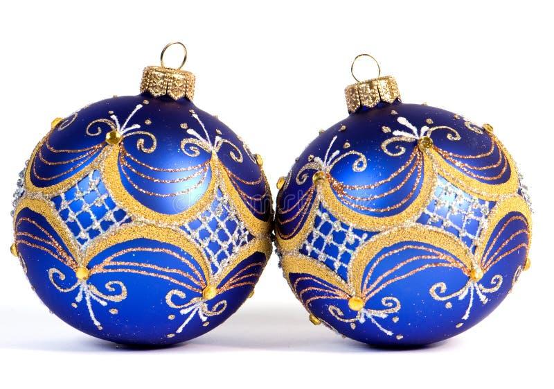 球蓝色圣诞节黑暗 库存照片