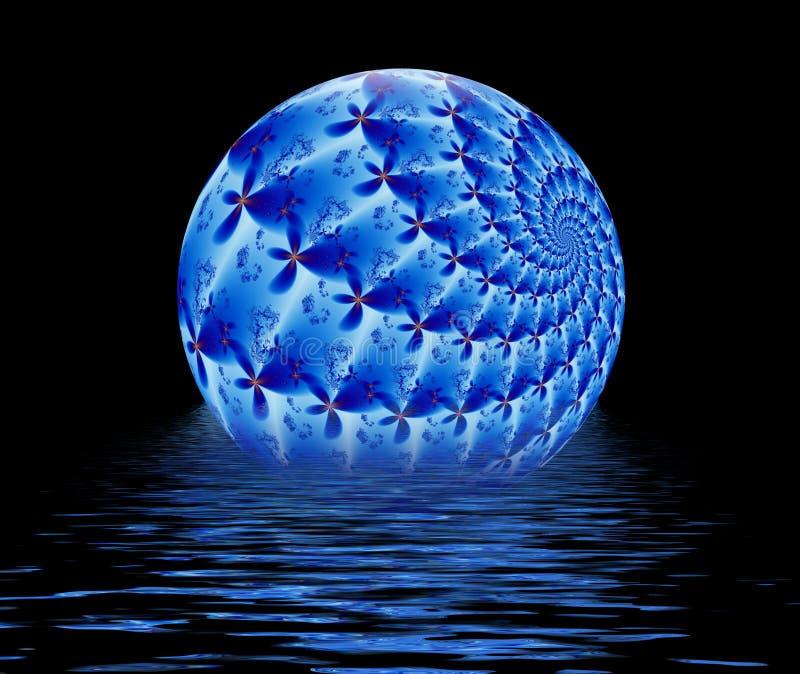球蓝色浮动的分数维起波纹水 向量例证