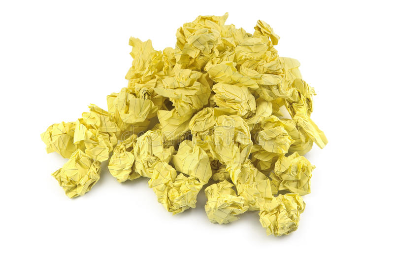 球被弄皱的纸黄色 免版税库存照片