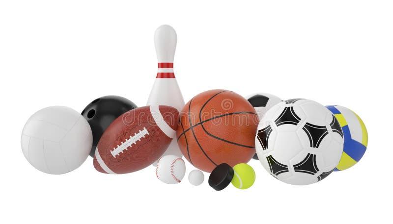 球被设置的体育运动 库存例证