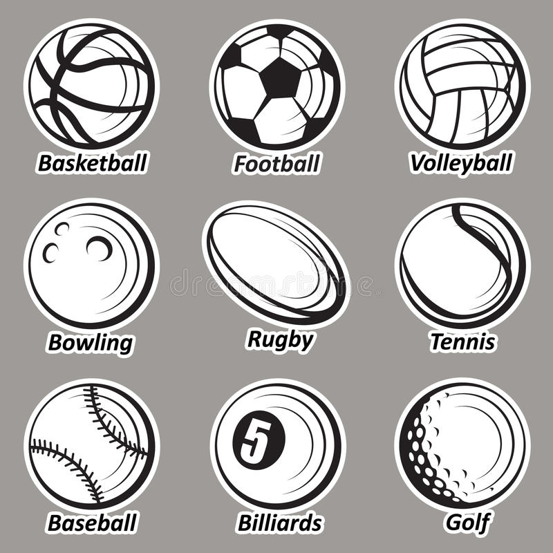 球被设置的体育运动 皇族释放例证