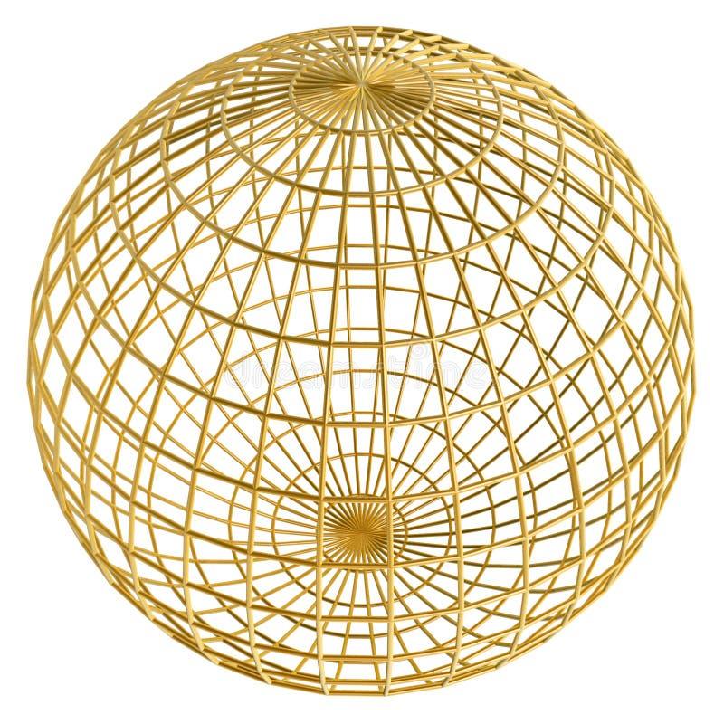 球金黄框架的地球 向量例证