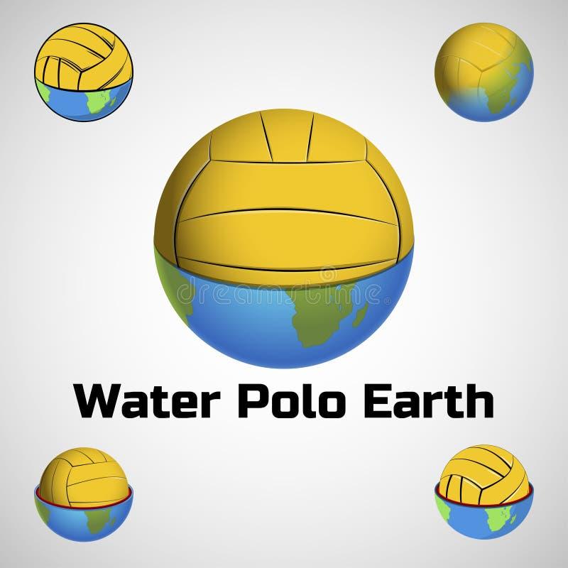 水球队和杯子的地球商标 库存例证