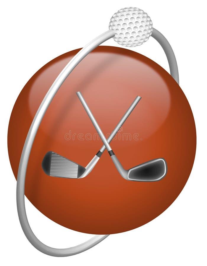 球驱动器高尔夫球图标红色 库存例证