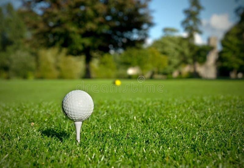 球高尔夫球发球区域 免版税库存图片