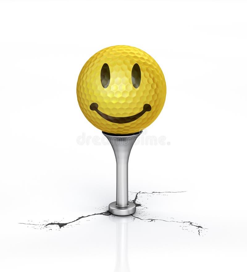 球高尔夫球微笑发球区域黄色 库存例证