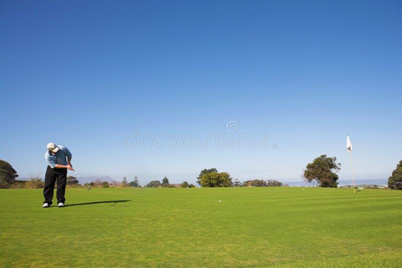 球高尔夫球运动员击中 库存照片