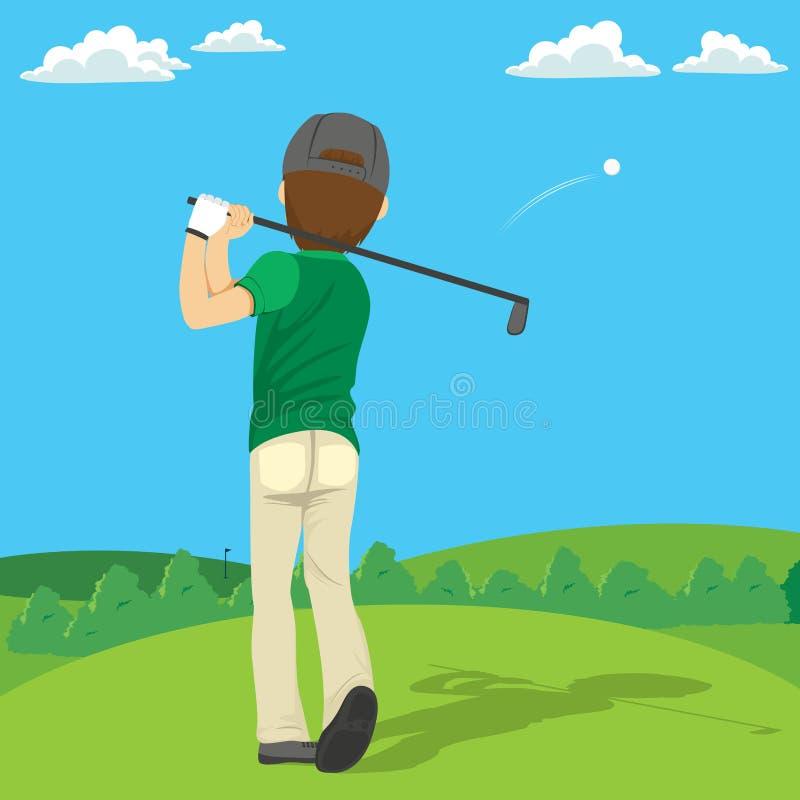 球高尔夫球运动员击中 库存例证