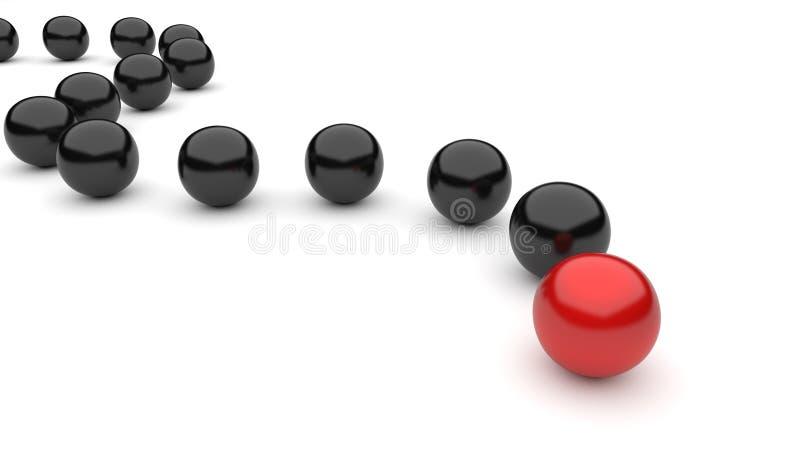 球黑色领导先锋红色 皇族释放例证