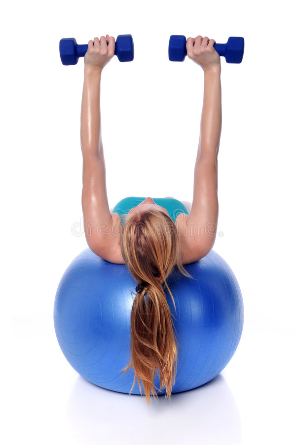 球excercising的健身妇女 图库摄影