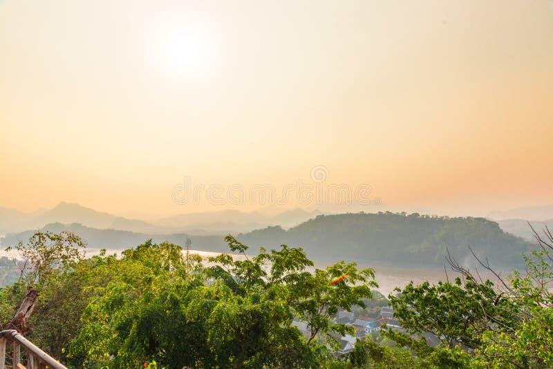 琅勃拉邦市,老挝顶视图  库存图片