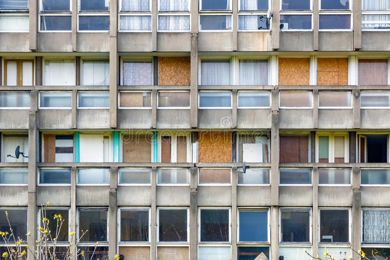 理事会公寓住房块在东伦敦 库存照片