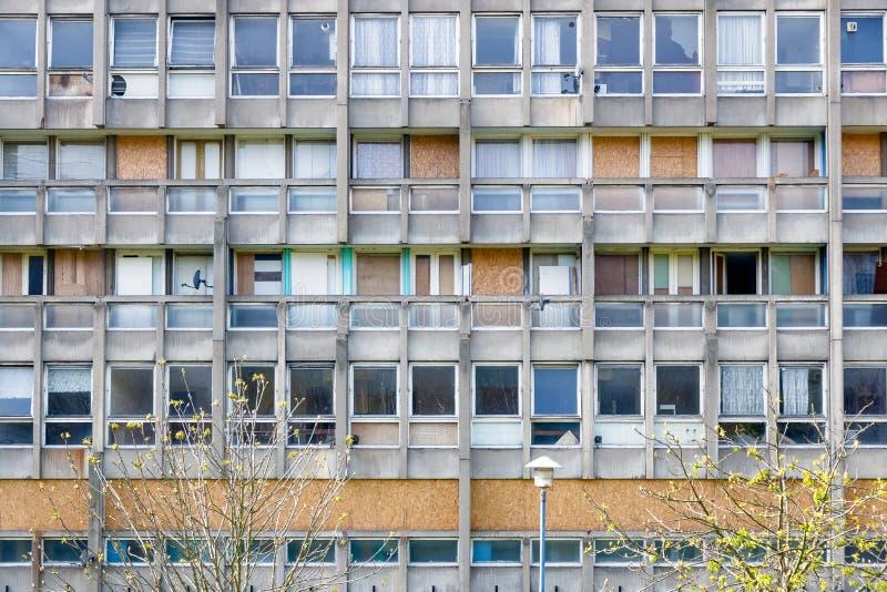 理事会公寓住房块在东伦敦 库存图片