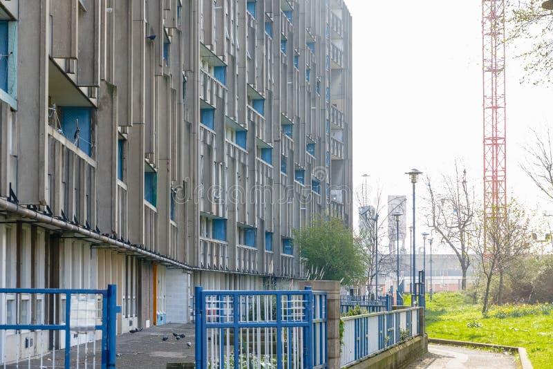 理事会公寓住房块在东伦敦 图库摄影