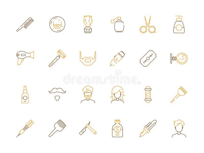 发廊象 理发和理发店辅助部件剪整理和刮传染媒介色的标志的梳子 库存例证