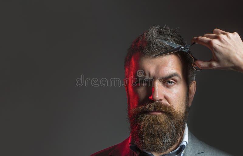 理发师剪刀 有胡子的人,豪华的胡子,英俊 行家在理发店 在理发店的精神理发 r 免版税库存照片