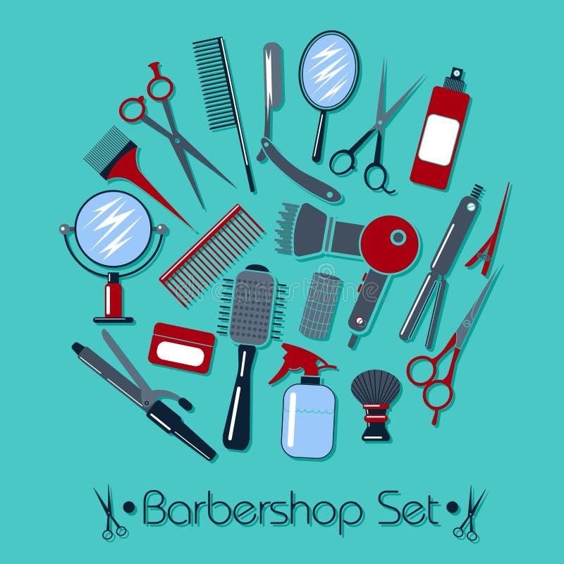 理发师和美发师工具箱 库存例证