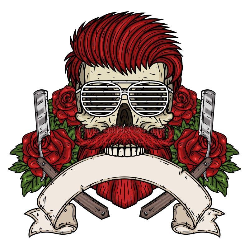 理发师头骨 有理发师刀片、玫瑰和丝带的行家头骨您的文本的 理发店的例证 库存例证