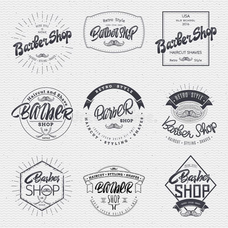 理发师标签胶粘物徽章手字法,可以用于设计标志小册子介绍 皇族释放例证