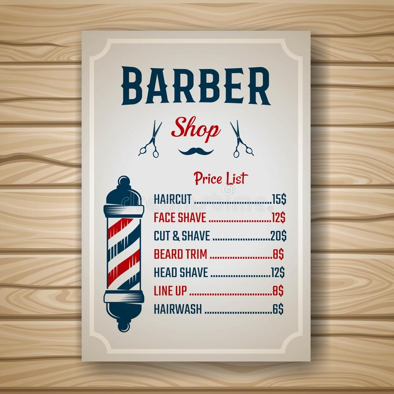 理发师色的价格 向量例证