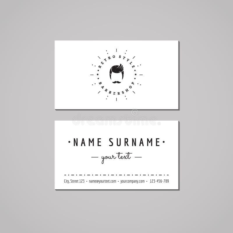 理发店名片设计观念 与一个有胡子的人的理发店商标 葡萄酒、行家和减速火箭的样式 皇族释放例证