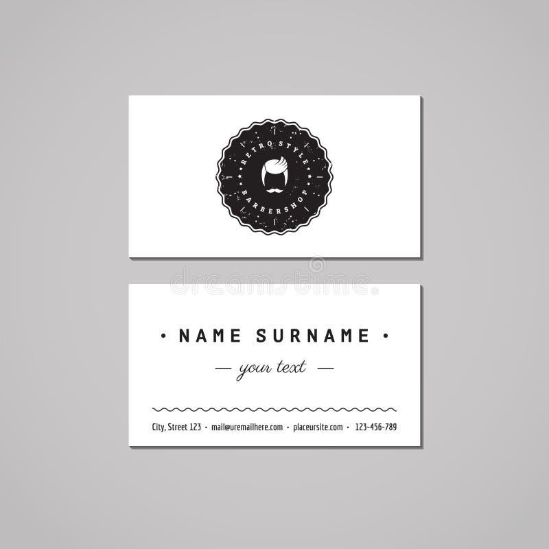 理发店名片设计观念 与一枚有胡子的人徽章的理发店商标 葡萄酒、行家和减速火箭的样式 库存例证