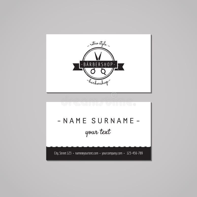 理发店名片设计观念 与剪刀和丝带的理发店商标 葡萄酒、行家和减速火箭的样式 库存例证