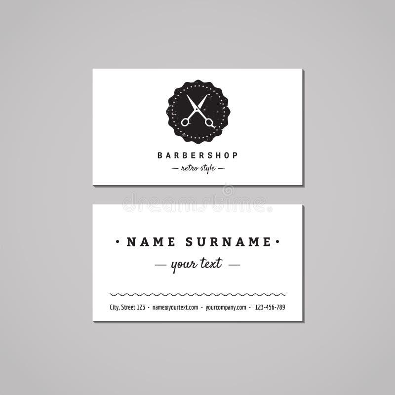 理发店名片设计观念 与剪刀和徽章的理发店商标 葡萄酒、行家和减速火箭的样式 向量例证