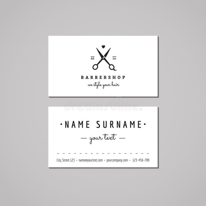 理发店名片设计观念 与剪刀和心脏的理发店商标 葡萄酒、行家和减速火箭的样式 向量例证