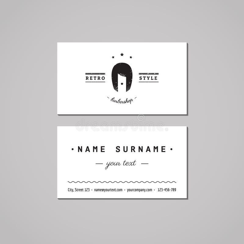 理发店名片设计观念 与长的头发妇女的理发店商标 发廊名片 库存例证