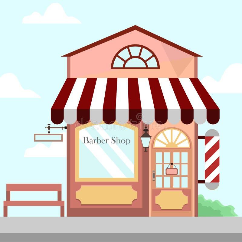 理发店商店前面大厦背景例证 向量例证