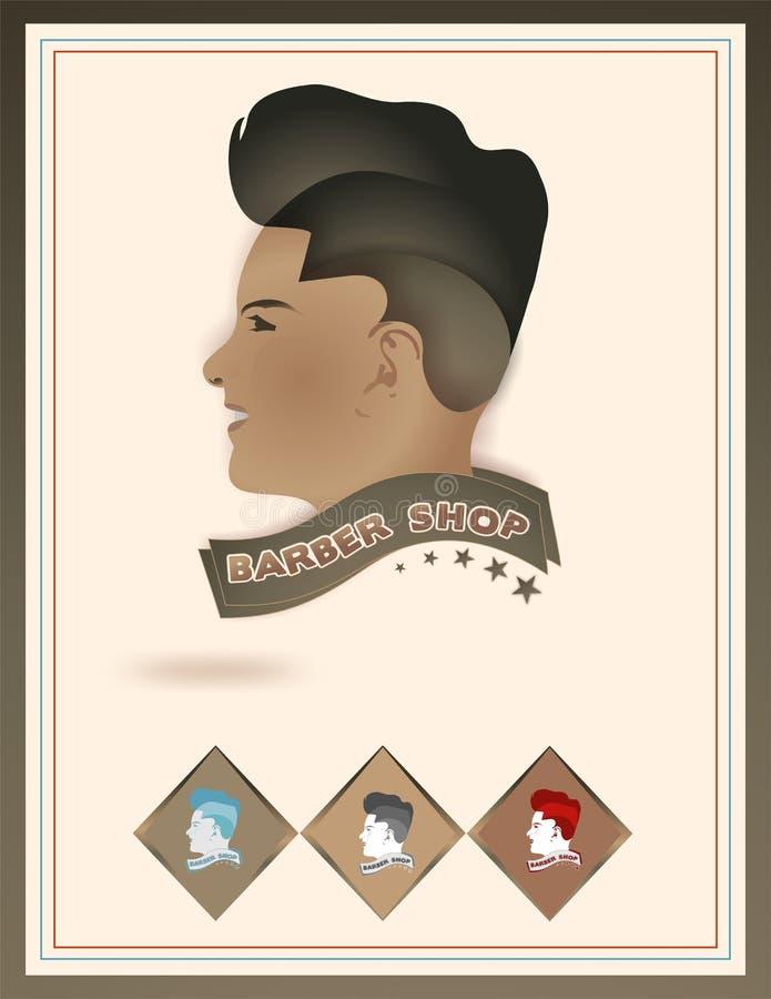 理发店商标模板-传染媒介面孔和头发商标 向量例证
