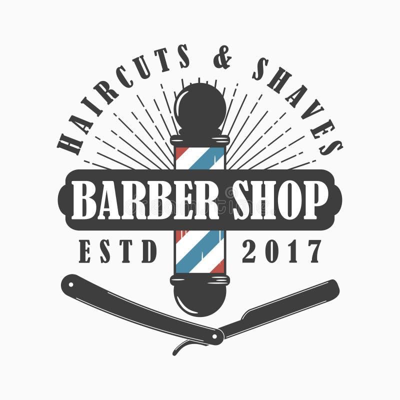 理发店商标 理发沙龙与理发师杆、普通刀片和旭日形首饰传染媒介的模板象征 向量例证