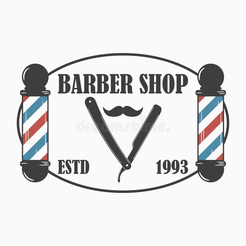 理发店商标 理发沙龙与理发师杆、普通刀片和髭的模板象征 向量 向量例证