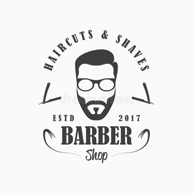 理发店商标 理发沙龙与面孔人的模板象征戴胡子和眼镜,普通刀片 向量 库存例证