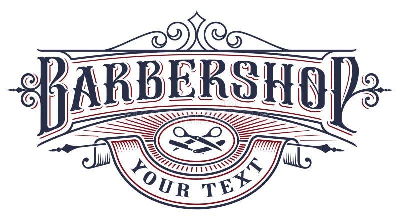 理发店在白色背景的商标设计 向量例证