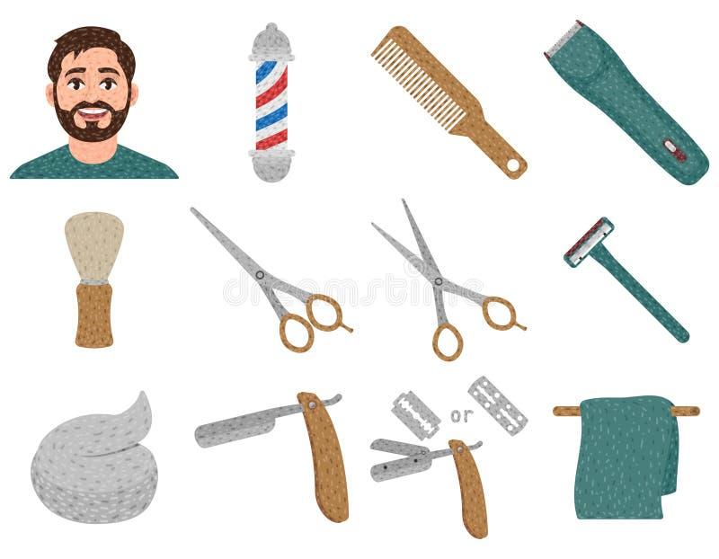 理发店套在动画片样式、理发和刮脸,shavette,理发师杆,头发剪刀的象 库存例证