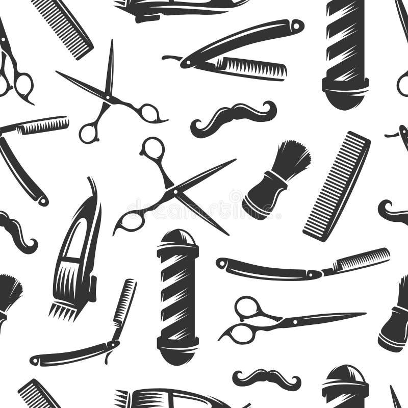 理发店无缝的样式,重复样式 向量例证