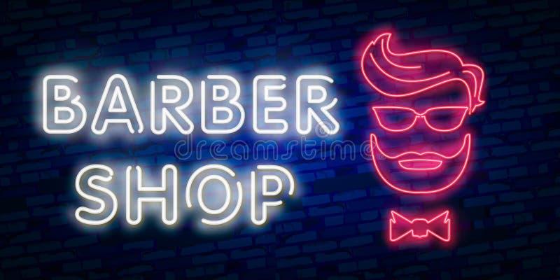 理发店标志传染媒介设计模板 理发店霓虹商标,轻的横幅设计元素五颜六色的现代设计趋向,夜增殖比 向量例证