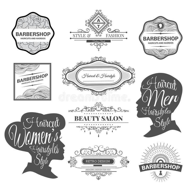 理发店标签和商标 库存例证