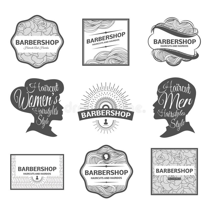 理发店标签和商标 向量例证