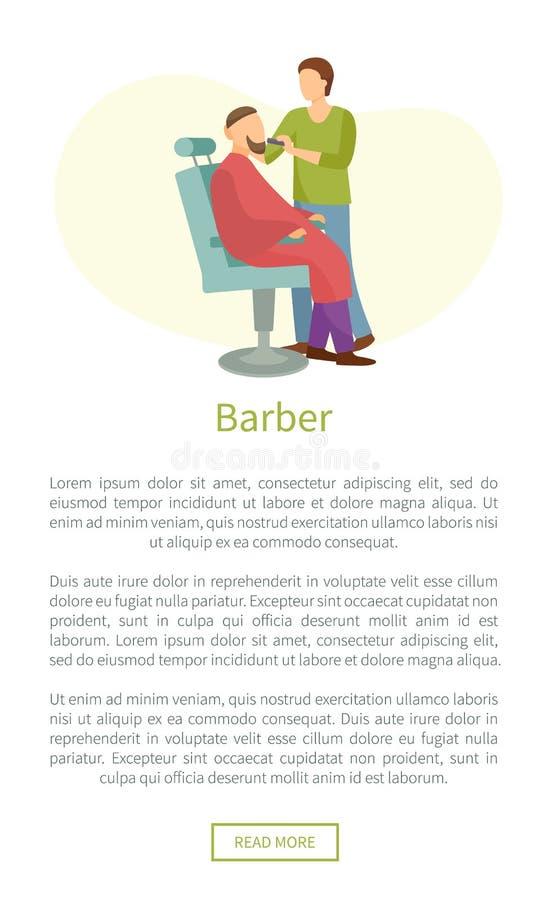 理发店海报美发师裁减或刮脸胡子 库存例证